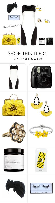 """""""Untitled #295"""" by qcollinsford ❤ liked on Polyvore featuring Manon Baptiste, Fujifilm, BaubleBar, Vintage, Off-White and Huda Beauty"""