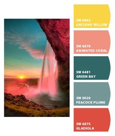 Paint colors from Chip It! by Sherwin-Williams amazing sunset: robust colors yellow teal orange red Paint Color Combos, Paint Color Palettes, Colour Pallette, Colour Schemes, Paint Colors, Paint Schemes, Beautiful Color Combinations, Colour Board, Color Stories