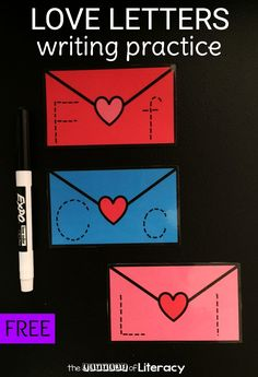 Encourage kindness with these love letters for Valentine writing practice. They encourage writing and uppercase and lowercase alphabet recognition! Alphabet Activities, Writing Activities, Preschool Activities, Preschool Lessons, Preschool Writing, Preschool Kindergarten, Preschool Letters, Valentines Writing Kindergarten, Preschool Winter