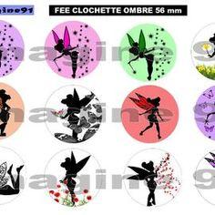 Planche d 39 images digitales panda 1 en 56 mm design - Fee clochette ombre ...