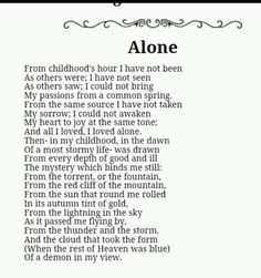 #EdgarAllanPoe is always epic. He's just one of those genius poets that reach right in deep and grab the soul of us. To read his work is to be forever moved.