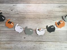 Cat Party Garland - This garland comes in different lengths and can be used to decorate a wall, the front edge of a table, a fireplace, a counter top or bar, a garden area or entryway, or a photo backdrop. The sizes are 6, 7, 8, 9, and 10 in length. It is made from double layered