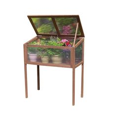 USA Raised Wooden Greenhouse Cold Frame, Brown #7651, Gardening