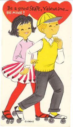 Vintage Valentine Card Roller Skate Boy Girl Unused Die-Cut for Children Skating