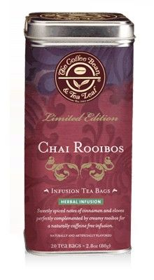 Chai Rooibos Tea Bags    Crossing continents and traditions, we took this caffeine-free South African rooibos and infused it with the exotic flavors of chai to create this sweet, creamy, delicately spiced infusion.