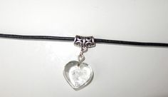 Black leather cord choker with glass heart pendant in assorted colours. 90's inspired choker necklace.
