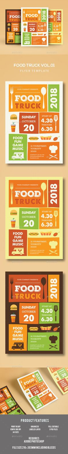 Food Truck Flyer Template PSD. Download here: http://graphicriver.net/item/food-truck-flyer/16891928?ref=ksioks