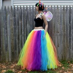 An Easy Tulle Skirt Tutorial Diy Tutu Skirt, Tutu Skirt Women, Tulle Skirt Tutorial, Tutu Skirts, Tutu Outfits, Dance Outfits, Girl Outfits, Fashion Outfits, Rainbow Tutu