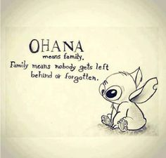 Ohana means family... NOBODY gets left behind OR forgotten. That also means.. they can't be replaced!