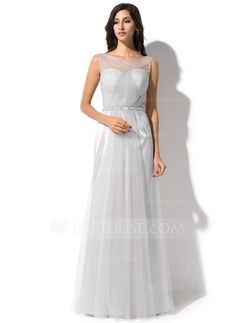 Trumpet/Mermaid Scoop Neck Floor-Length Tulle Charmeuse Evening Dress With Ruffle Beading Sequins (017052647)