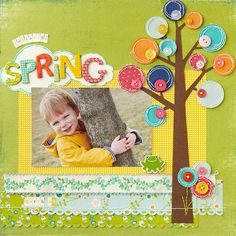 Button Tree Page -SOURCES: Cosmo Cricket (letters). Punch: FiskarsCardstock: Bazzill Basics Paper. Patterned paper: My Mind's Eye (green), Cosmo Cricket (all other). Stickers, ribbon: Making Memories. Chipboard: Colorbök (frog),