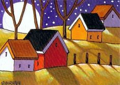 ACEO-ART-CARD-Moonlite-ORIGINAL-Collectable-Miniature-LANDSCAPE-PAINTING-Horvath