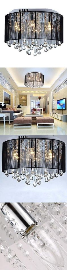 Chandeliers and Ceiling Fixtures 117503: Black Drum Shade Crystal Ceiling Chandelier Pendant Light Fixture Lighting Lamp -> BUY IT NOW ONLY: $66.5 on eBay!