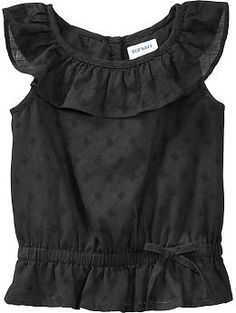 Ruffle-Neck Sleeveless Tops for Girl in black and white - so cute!!