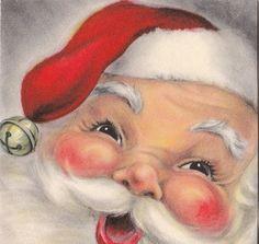 Vintage Greeting Card Christmas Santa Claus Face Hallmark V082