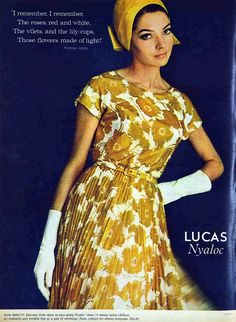 1966 60s gold floral yellow flower print dress day cocktail short sleeves round neck pleating color photo print ad model magazine
