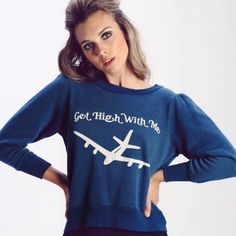 "Wildfox Get High With Me Stewardess crop sweater S NWT! Size small! Wildfox dark blue sweatshirt with an airplane graphic and ""get high with me"". Come fly with me. 60's inspired, sherpa fleece pullover sweatshirt with a cute and extra small fit. Crewneck, banded sleeves and rruching at the shoulders. In Stewardess blue.  70% Cotton, 30% Polyester Wildfox Sweaters Crew & Scoop Necks"
