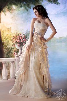 Fairytale wedding dress. This paired with a tiara and long flowy hair is my ideal.