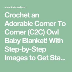 Crochet an Adorable Corner To Corner (C2C) Owl Baby Blanket! With Step-by-Step Images to Get Started  - Lion Brand Notebook
