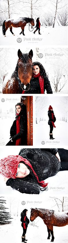 Minus the horse, I like the snow photos. Nice use of color with the red scarf and hat. The black outfit contrasts really well with the snowy backdrop.