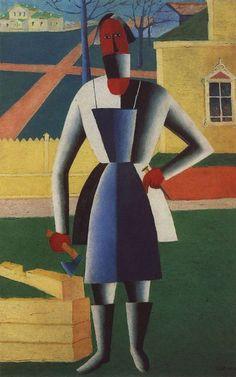 Kasimir Malevich, Timmerman, 1929, olieverf op doek, 71 x 44 cm, Russisch Museum, St. Petersburg  http://www.artsalonholland.nl/schilderkunst-kubisme/kazimir-malevich-timmerman