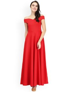 ad4e0e32 Buy Eavan Women Red Solid Maxi Off Shoulder Dress - Dresses for Women  2265860 | Myntra