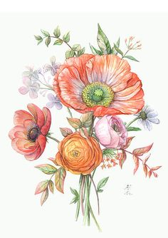 Orange flowers by Maria Rytova