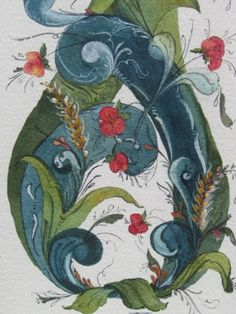 watercolor rosemaling