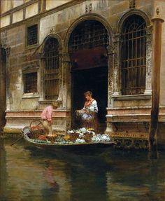 Vincenzo Caprile (1856-1936)  Venezia, il fioraio in gondola