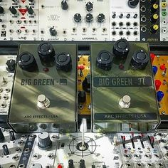 Repost @arceffects:  Incredible shot of the Special Edition Big Green alongside the long discontinued BGP courtesy of @gravityswell!  #tbt #arceffects #specialedition #biggreen #ogbg #studio #recording #rig #modular #modularsynth  #modulargrid #synth #synthesizer #geartalk #gearnerds #knowyourtone #guitar #distortion #fuzz