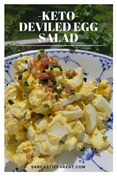 Keto Deviled Egg Salad I have been making keto deviled eggs as my designated side dish for many different holidays since becoming keto. It is a great standard keto item, easily tracked, and everybody seems to enjoy deviled eggs. The hard part is that they Keto Egg Salad, Deviled Egg Salad, Keto Deviled Eggs, Atkins Egg Salad Recipe, Low Carb Chicken Salad, Healthy Egg Salad, Low Carb Recipes, Diet Recipes, Healthy Recipes