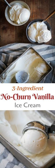 The easiest homemade vanilla ice cream recipe you'll ever make. Just three ingredients and no ice cream maker necessary! High octane dairy + sugar alert!  #icecream #icecreamrecipes #vanillaicecream #dessert