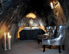 Caves You Can Actually Stay In Around the World -- SALA SILVERMINE, SWEDEN is known as the deepest hotel room in the world at 500 feet underground. Design Hotel, House Design, Hotels And Resorts, Best Hotels, Underground Hotel, Unusual Hotels, Cave Hotel, Hotel Suites, Beautiful Hotels