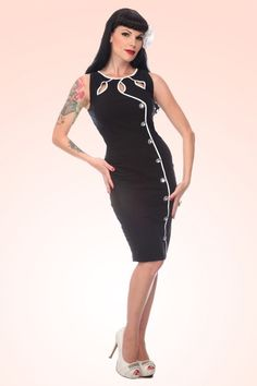 Vixen - 40s Jasmin Black pencil Dress