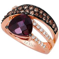 Levian Kt. Strawberry Gold Rhodolite Diamond Ring ($1,760) ❤ liked on Polyvore featuring jewelry, rings, purple rose gold, yellow gold band ring, levian rings, cocktail rings, diamond band ring and diamond enhancer ring