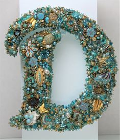 MONOGRAM D Teal Goldtoned Six and half inches vintage jewelry Ready to Ship Wall Decor Initial Dina Marie Peterson-Rosamond Costume Jewelry Crafts, Vintage Jewelry Crafts, Jewelry Art, Vintage Jewellery, Antique Jewelry, Jewelry Necklaces, Button Art, Button Crafts, Diy Letters