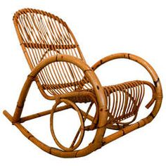 Mid Century Italian Rattan Rocking Chair By Franco Albini / 1st Dibs