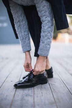 Cable knit, brogues and tailoring.