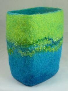 Lime and Turquoise Rectangle Felt Bowl 2 | Large felt wool b… | Flickr