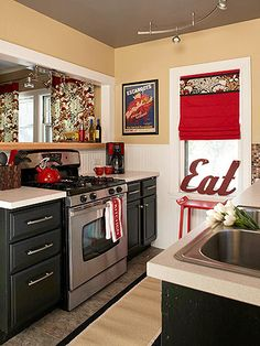 Love the red in this kitchen!