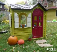 Playhouse makeover with spray paint.