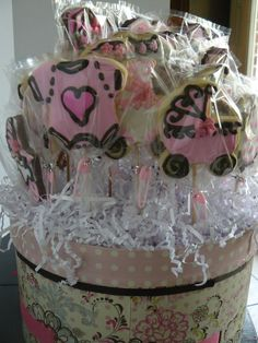 Pink & Brown Baby Shower Cookie Arrangement