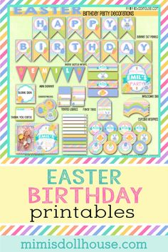 Easter birthday Party Printable Collection. Easy to print at home party decorations for your Easter birthday party. Easter themed birthday Printables for your party via @mimisdollhouse