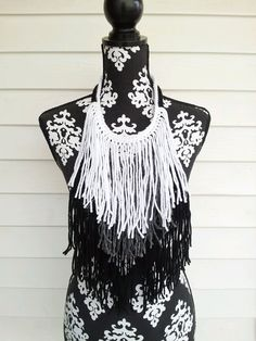 Black Gray White  Bohemian Fringe Statement Necklace by BlackPearl