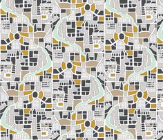 Maps Gold Gray fabric by mrshervi on Spoonflower - custom fabric