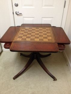 Antique Fold Drop Leaf Chess Game Table With Pull Drink Holders And Wheel  Legs