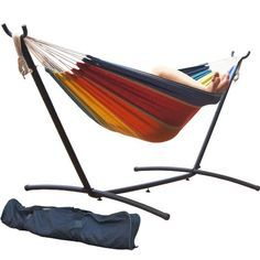 Prime Garden Double Hammock and Steel Hammock Stand (Tropical Stripe), Multi (Polyester) , Patio Furniture Double Hammock With Stand, Double Swing, Patio Seating, Deck Chairs, Camping Fabric, Gazebo Pergola, Hammock Swing, Hammocks, Patio Furniture Covers