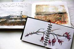 Cas Holmes work in progress Art Textiles: Made in Britain's photo. Cas Holmes, Textiles Sketchbook, Watercolor Journal, Artist Journal, Arthur Rackham, Fibre Art, Urban Sketching, Mark Making, Textile Artists