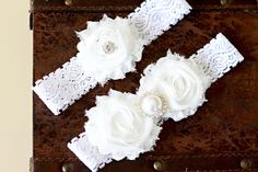 White Bridal Garter Set, White Wedding Garter Set, Bridal garter set.