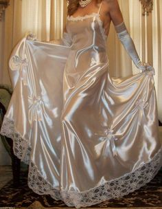 Silk and satin nightgowns. Feel free to submit gorgeous nighties and send me messages. Pyjama Satin, Satin Nightie, Satin Sleepwear, Satin Gown, Satin Slip, Satin Dresses, Silk Satin, Nightwear, Lingerie Chic